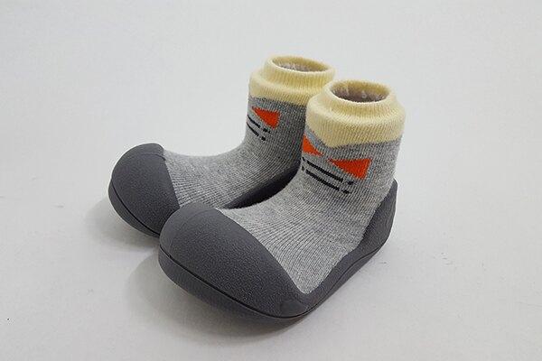 韓國 Attipas 快樂腳襪型學步鞋-灰底紳士