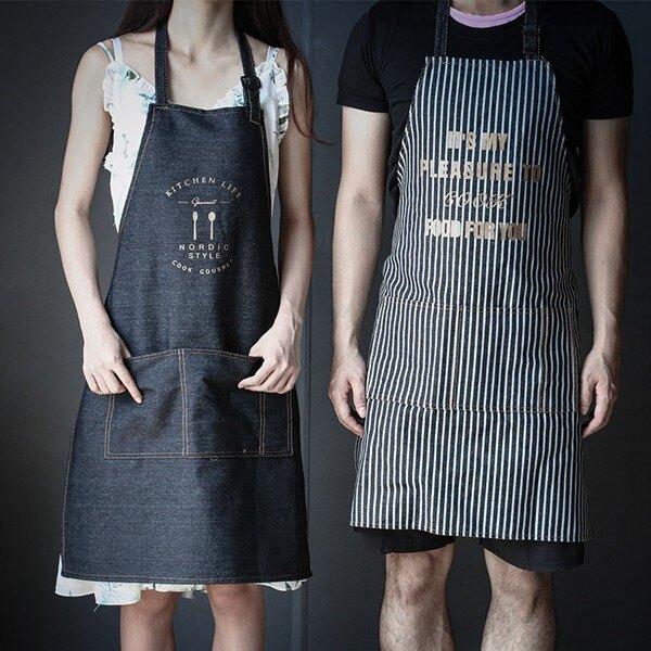 圍棋牛仔圍裙女正韓時尚家用廚房防水防油成人中餐廳同款做飯罩衣圍腰  聖誕節禮物