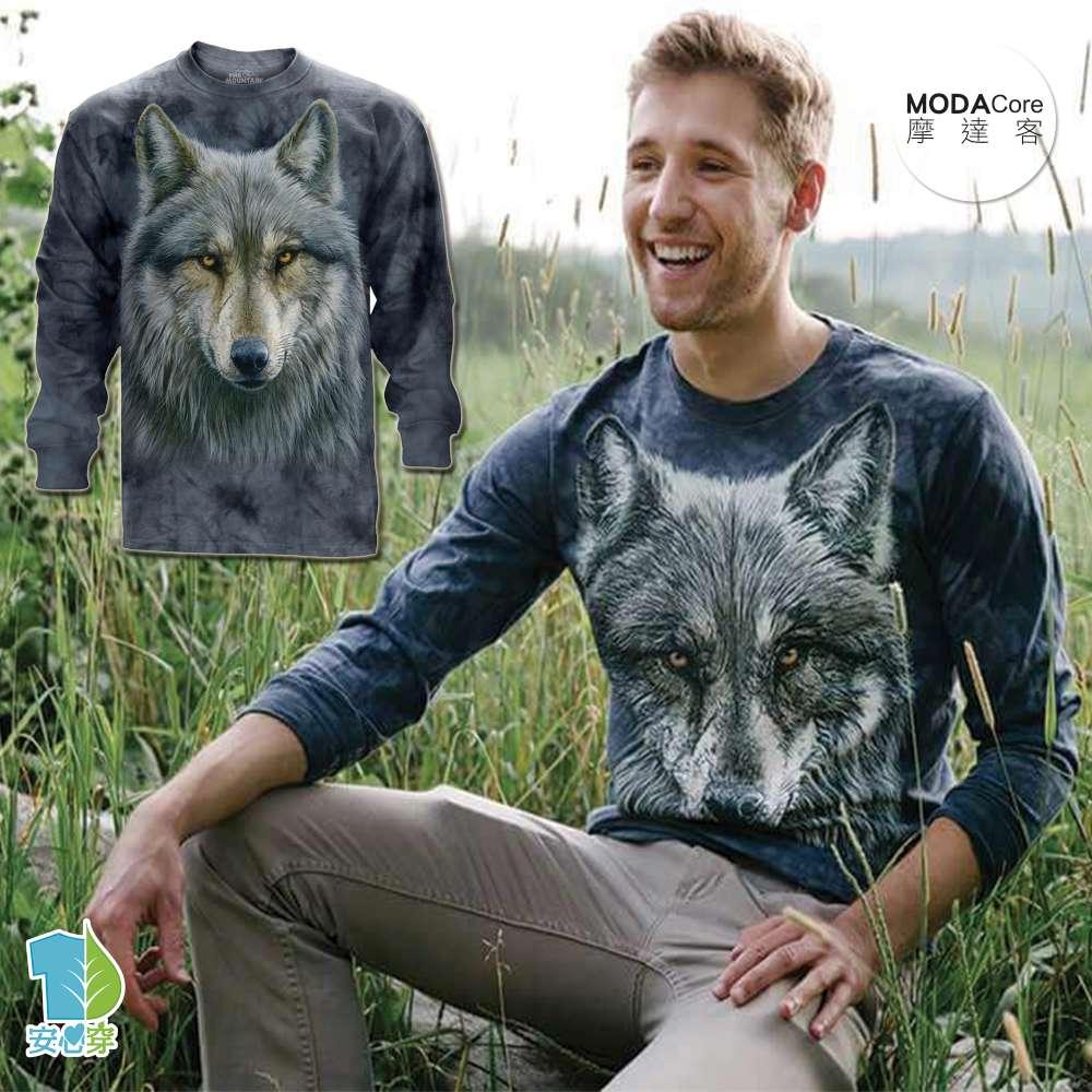 【摩達客】(預購)美國進口The Mountain 勇戰之狼 純棉長袖T恤