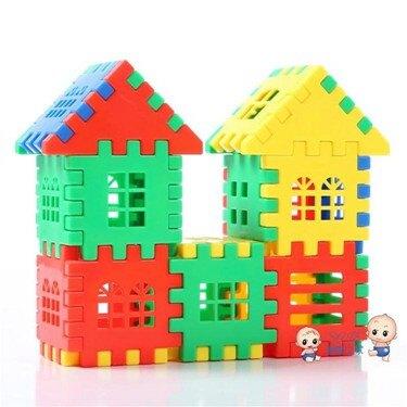 積木玩具 積木玩具3-6周歲大塊塑料房子拼裝插女孩男孩益智1-2周歲兒童玩具T 1色  聖誕節禮物