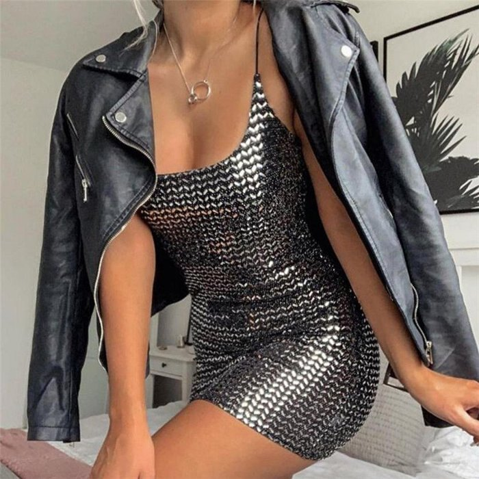 歐美時尚新款 細肩帶露背氣質亮面修身包臀連身裙洋裝 D1732946