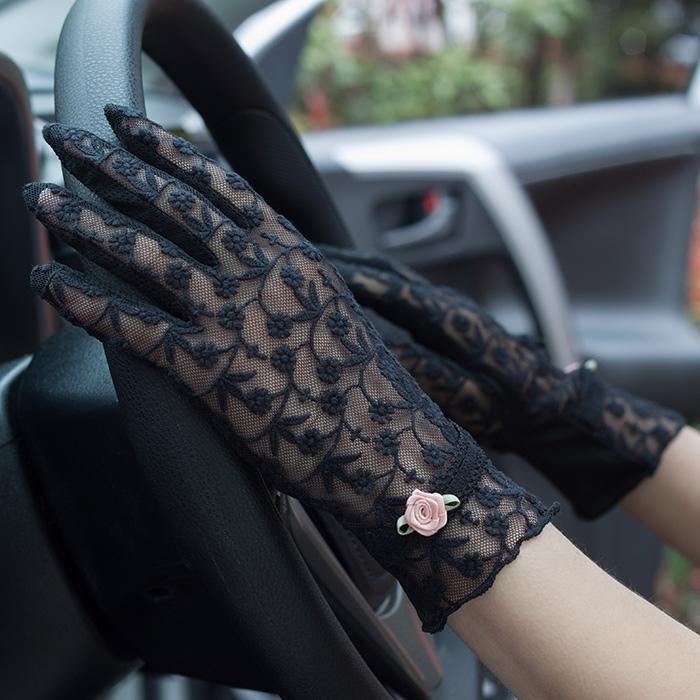新款夏天優雅時尚蕾絲玫瑰花 女士手套 防曬防滑開騎車短款 透氣