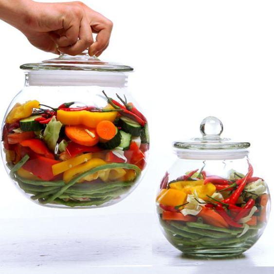 好又惠加厚玻璃泡菜壇子腌制罐酸菜咸菜儲物密封罐家用四川泡菜壇 HM
