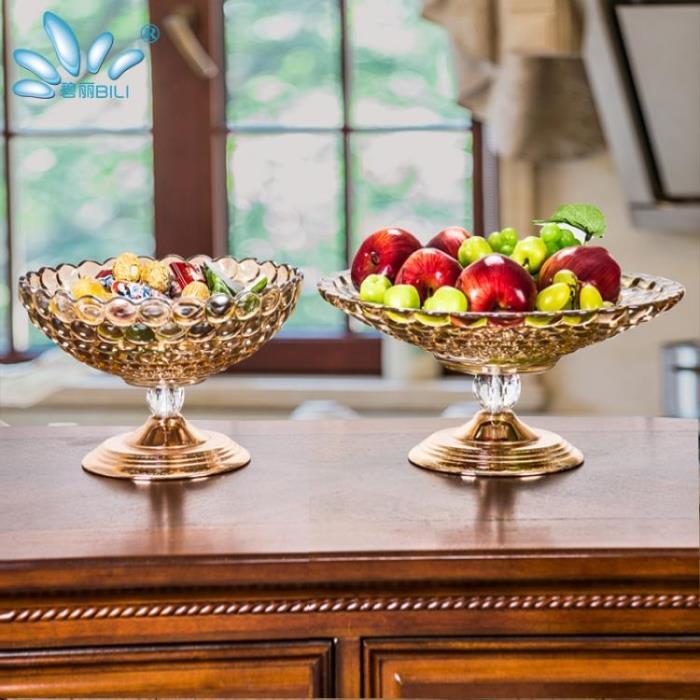 玻璃水果盤奢華歐式水晶家用現代客廳茶幾果盤雙層糖果盤創意擺件
