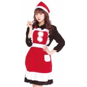フリルクリスマスエプロン サンタ衣装 コスチューム サンタ 定番 業務用