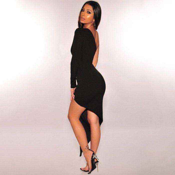 歐美新款女裝 性感長袖斜肩鈕扣開叉夜店連身裙禮服洋裝 2色 V8220
