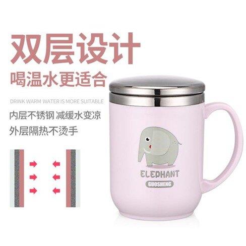 馬克杯帶蓋勺不銹鋼創意茶杯帶手柄杯子兒童杯子  聖誕節禮物