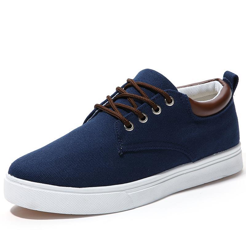 秋季季低幫男士帆布鞋板鞋英倫潮流學生休閑男鞋子布鞋內增鞋