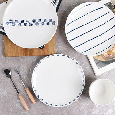 北歐簡約風8英寸西餐盤創意餐具菜盤家用陶瓷牛排盤子4個套裝