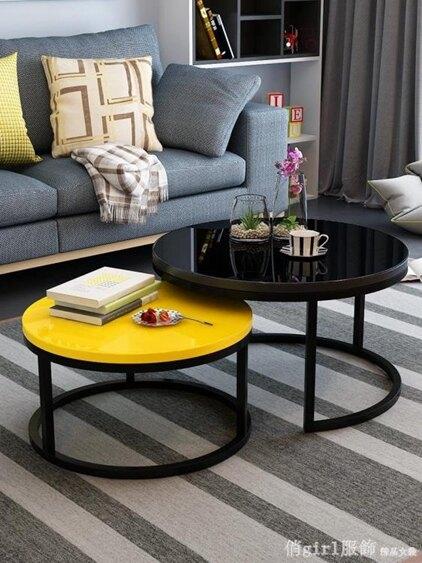北歐茶幾現代簡約小戶型簡易小茶幾家用客廳創意鐵藝玻璃圓形茶幾 全館八八折