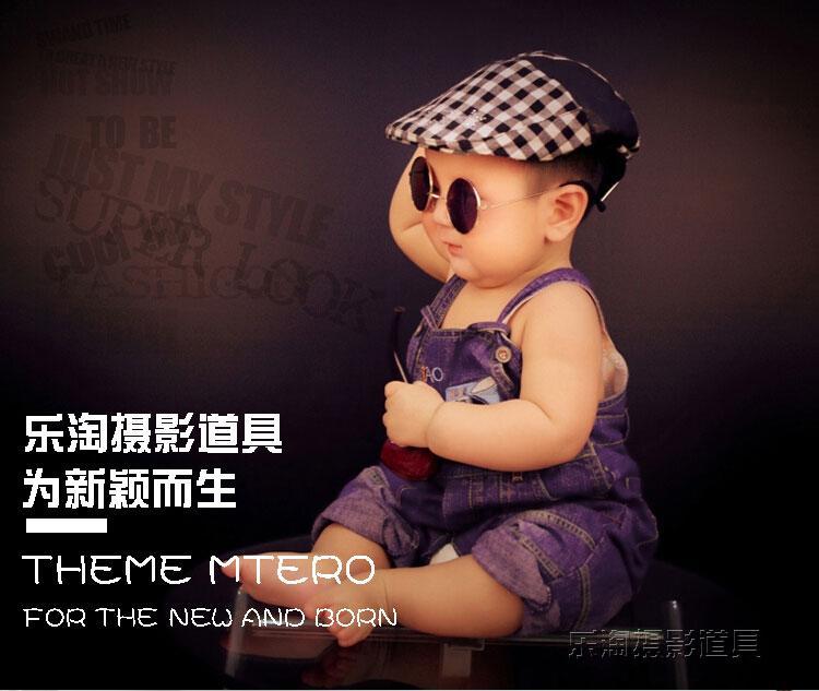 造型兒童攝影道具影樓太子拍攝幼兒眼鏡創意演出小墨鏡中國龍黑框2入