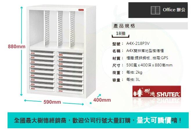 【樹德收納系列】 檔案櫃 資料櫃 公文櫃 收納櫃 效率櫃 落地型文件櫃 A4X-218P3V
