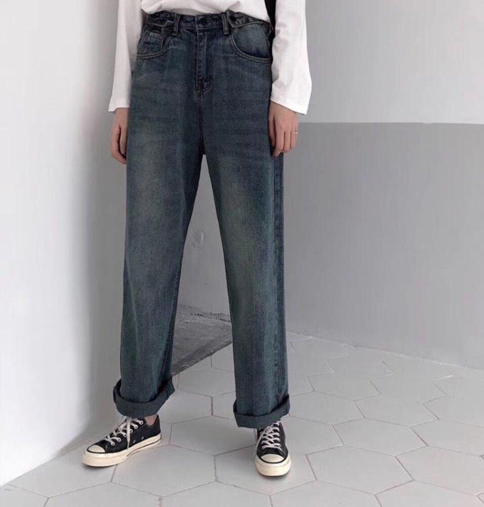 牛仔寬褲  韓版寬鬆復古高腰直筒闊腿牛仔褲女港風顯瘦休閒學生長褲  瑪麗蘇