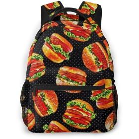 バックパック ハンバーガー PCリュック ビジネスリュック バッグ 防水バックパック 多機能 通学 出張 旅行用デイパック