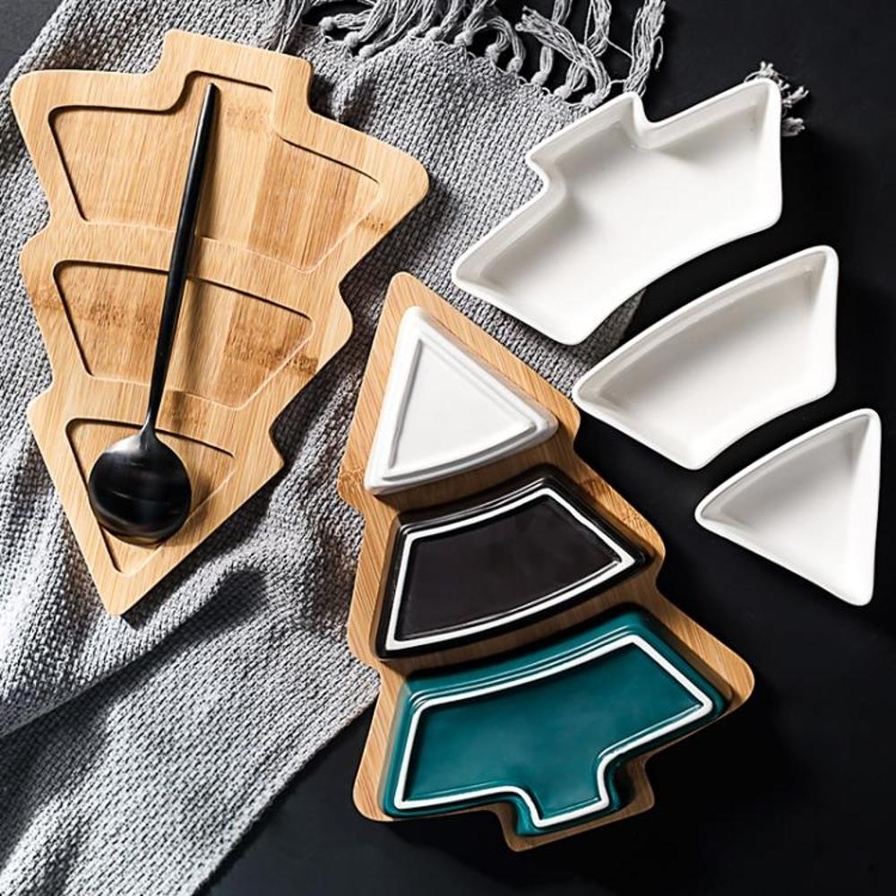 免運 北歐創意竹木圣誕樹果盤家用餐具托盤陶瓷點心盤水果沙拉盤零食盤