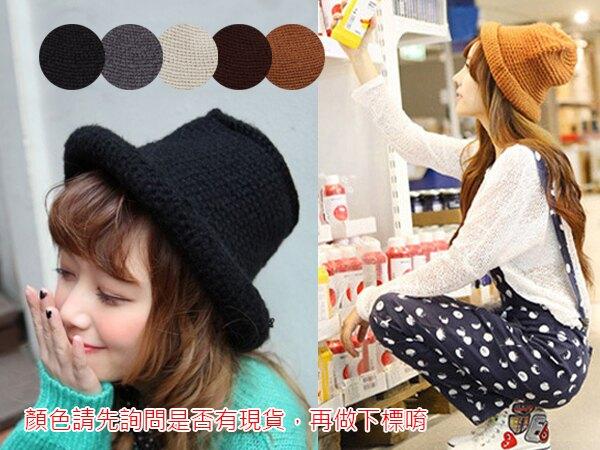 SISI【A4014】可愛甜美 韓風厚款純色針織漁夫帽 捲邊毛線帽子 編織毛帽盆帽禦寒流保暖