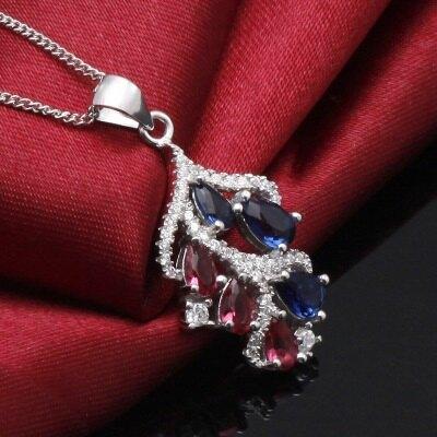 925純銀項鍊 水晶吊墜-精美葉子設計唯美情人節生日禮物女配件73df20【獨家進口】【米蘭精品】