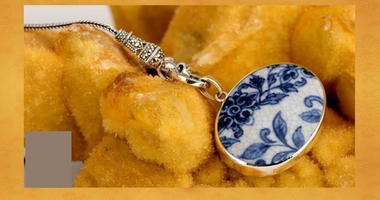 銀首飾品 複古青花陶瓷項鏈墜子毛衣鏈吊墜