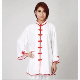 白色S夏季短袖棉加絲太極服 七分袖低領女款中袖高領男款 練功服晨練服