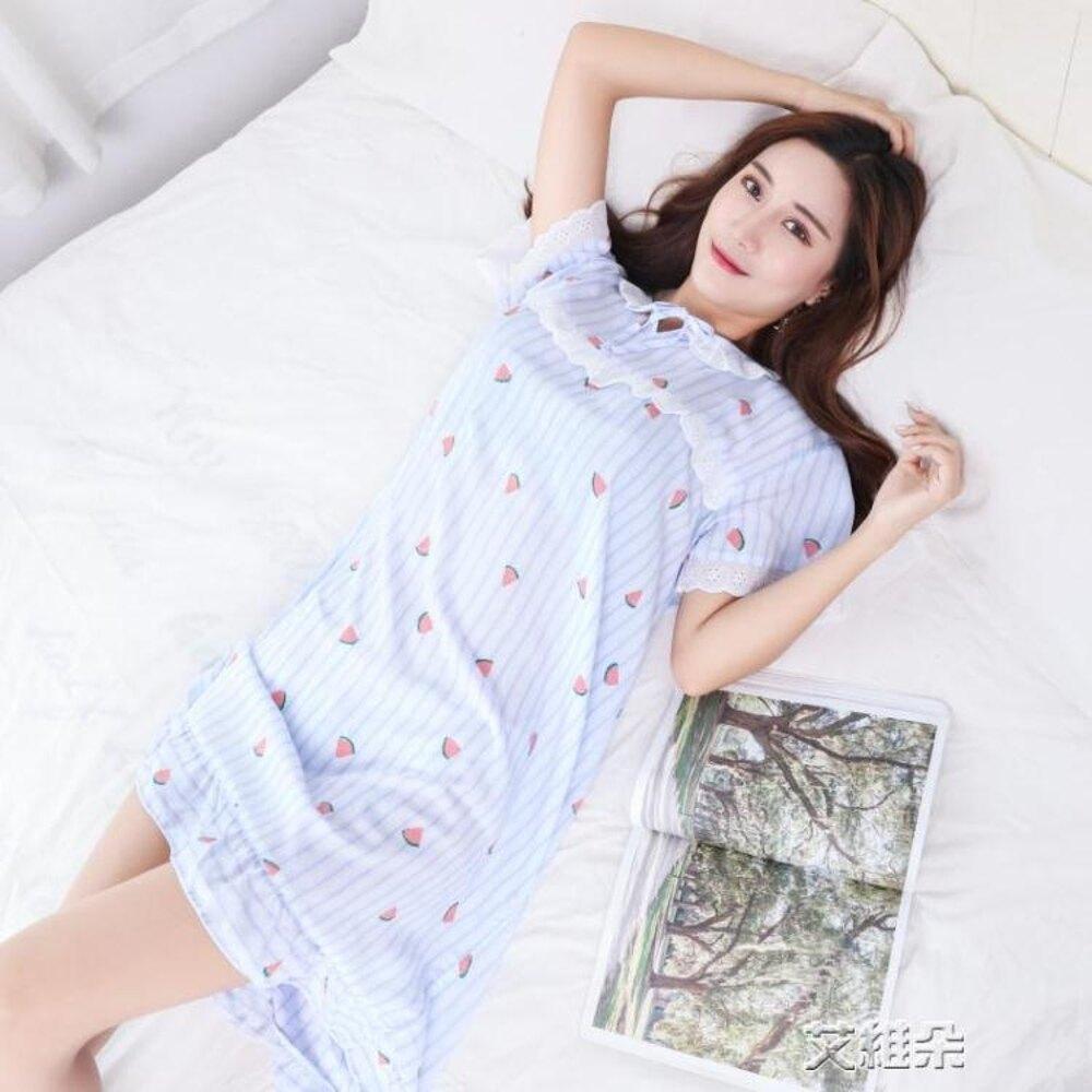 睡裙睡裙卡通蕾絲花邊睡衣睡裙短袖長裙棉綢棉綢裙孕婦可穿 年貨節預購