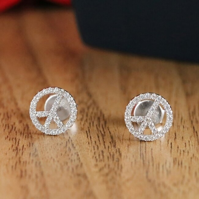 防抗過敏 反戰和平符號 滿鑽天然白水晶 耳環耳針釘-銀
