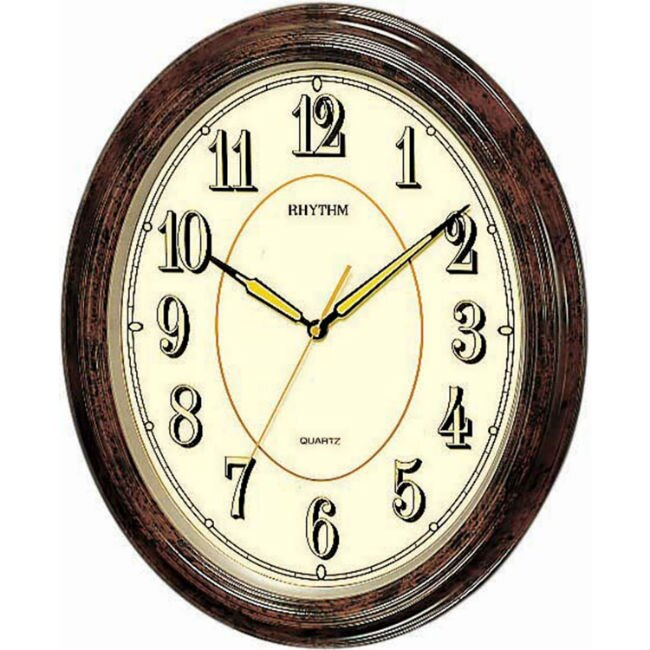 RHYTHM 麗聲鐘(CMG712) 螢光面板橢圓形古典掛鐘/32cm