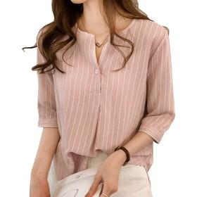 [ミニマリ] ストライプ ブラウス 清楚 プルオーバー トップス オフィス 通勤 七分袖 スキッパー シャツ ピンク Sサイズ