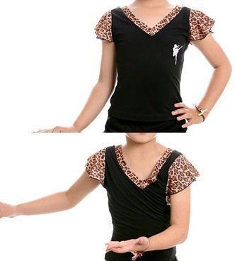 舞蒂娜女童舞蹈服裝練功服兒童雙層袖鑲邊舞蹈上衣少兒拉丁舞上衣