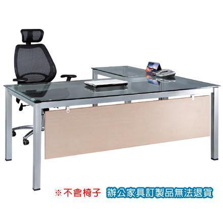 TSA烤銀方形腳 辦公桌 TSA-18090G 主桌 + TSA-9050G 側桌 10m/m強化清玻 /組