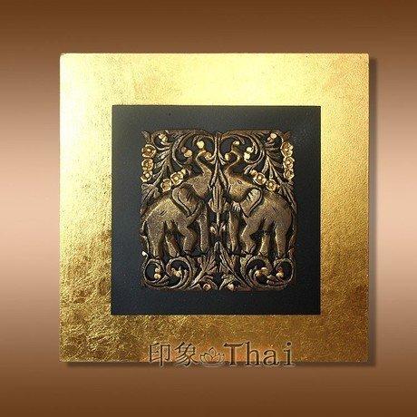 雕花板裝飾掛件 柚木雕刻金箔板裝飾畫 家居壁飾掛畫