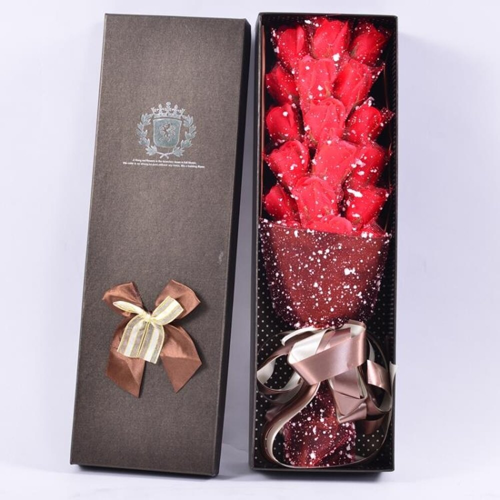 生日禮物女生18朵送女友老婆特別情人節禮物肥皂玫瑰香皂花束禮盒 LX 全館免運 聖誕節禮物