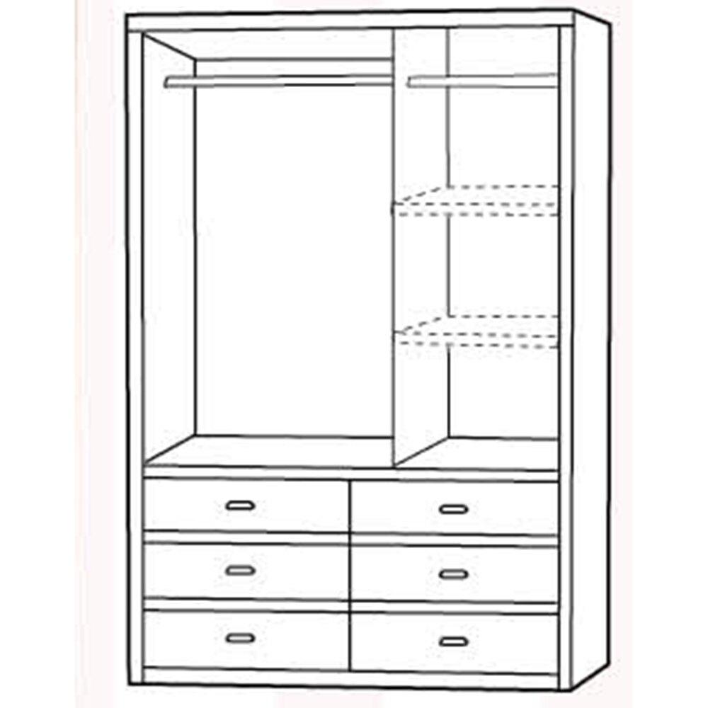 原木色5X7尺六抽衣櫃/衣櫥//H&D東稻家居-消費滿3千送點數10%