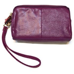 本革・牛革ファスナーポーチ (紫)