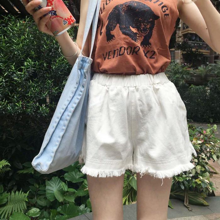 [超豐國際]夏裝松緊腰毛邊闊腿直筒褲休閑短褲顯瘦牛仔褲女學生1入