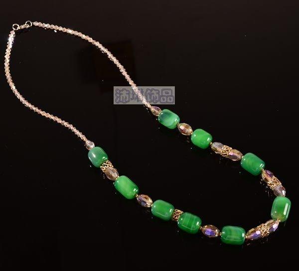 飾品橢圓綠色瑪瑙中長款項鏈 項鏈女 精品手工項鏈飾品女