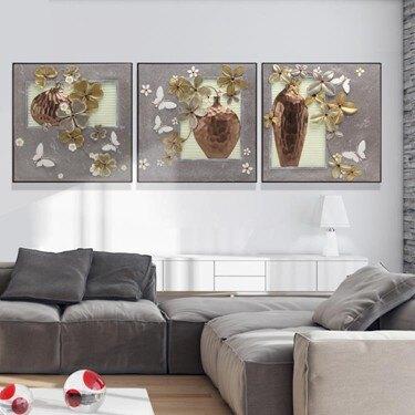 客廳立體浮雕畫三聯現代簡約沙發背景墻裝飾畫餐廳墻壁畫無框掛畫   伊卡萊生活館  聖誕節禮物