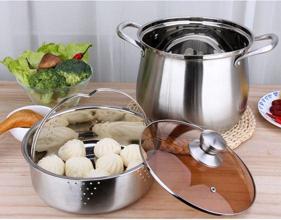 湯鍋不銹鋼304家用加厚不銹鋼鍋復底燃氣電磁爐通用煲湯鍋大容量   ATF