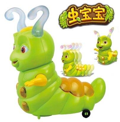 [協貿國際]電動糖寶小靈蟲玩具萬向燈光音樂玩具1入