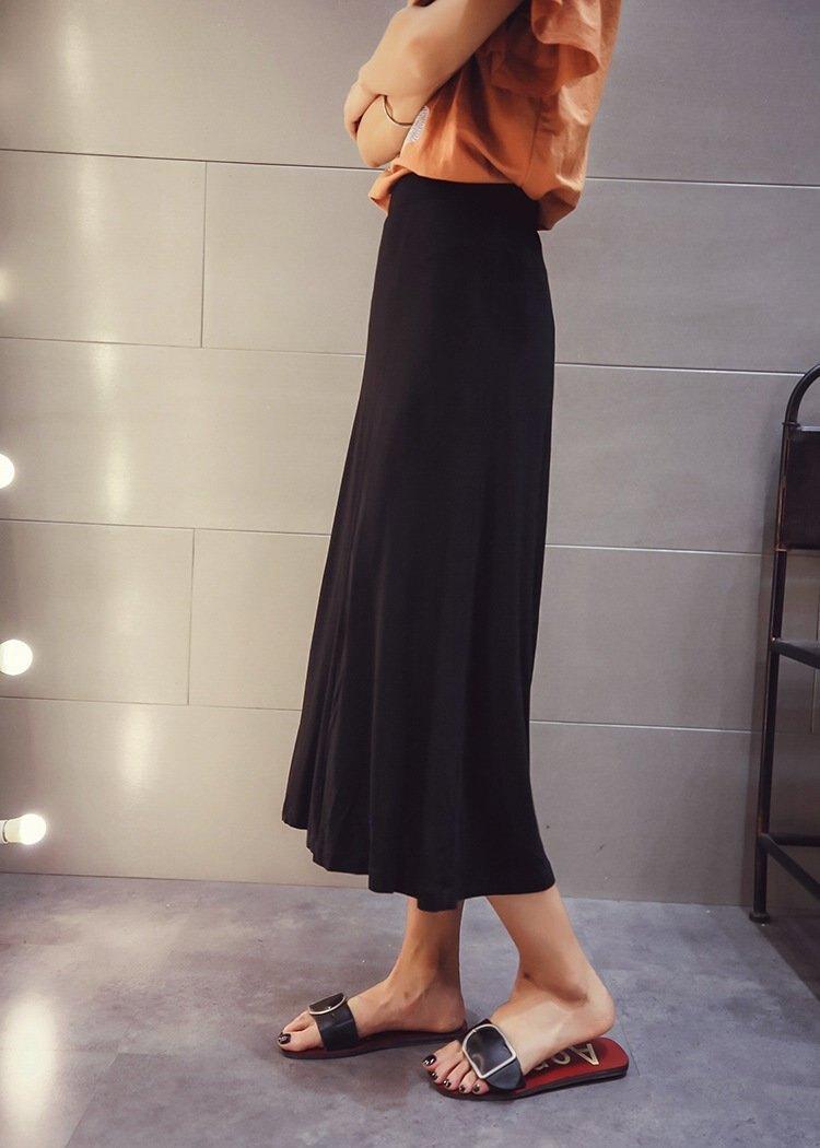 FINDSENSE G5 韓國時尚女裝 百搭 黑色 高腰 中長款 裙子 開叉 半身裙