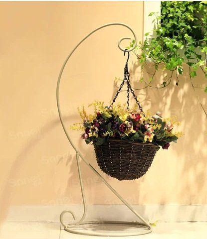 愛勒貝拉坐地吊籃  鐵藝藤編花架子不含花