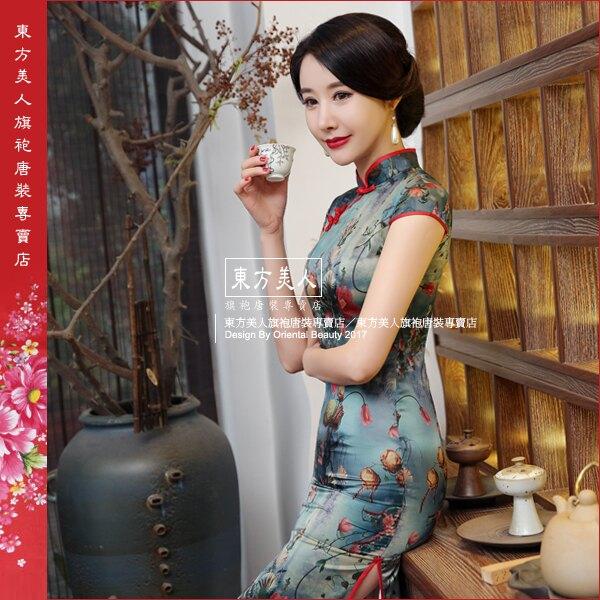 東方美人旗袍唐裝專賣店 夜未央。仿絲軟緞時尚印花半月包袖長旗袍