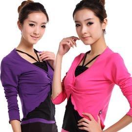 紫色上衣黑背心S廣場舞蹈服新款 特價女拉丁舞蹈服上衣 兩件套加大碼 可插胸墊
