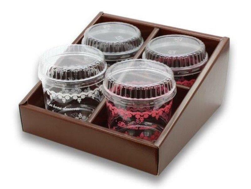 【嚴選SHOP】4格 時尚包裝盒 格子盒 布丁奶酪杯盒 禮盒 外帶盒 展示【C081】
