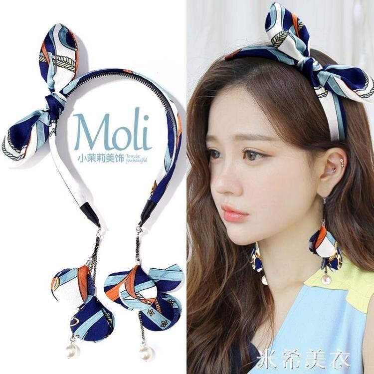 發箍女寬邊帶齒防滑假耳環吊墜發卡壓發頭飾韓國簡約復古網紅頭箍