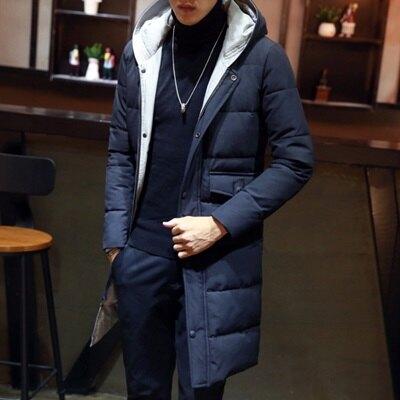 夾克外套連帽棉衣-冬季保暖中長版純色男外套2色73qa13【獨家進口】【米蘭精品】