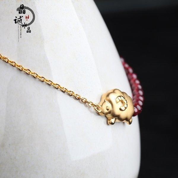 手鏈銀本命年 石榴石轉運紅繩手串鍍黃金 純銀其他女小