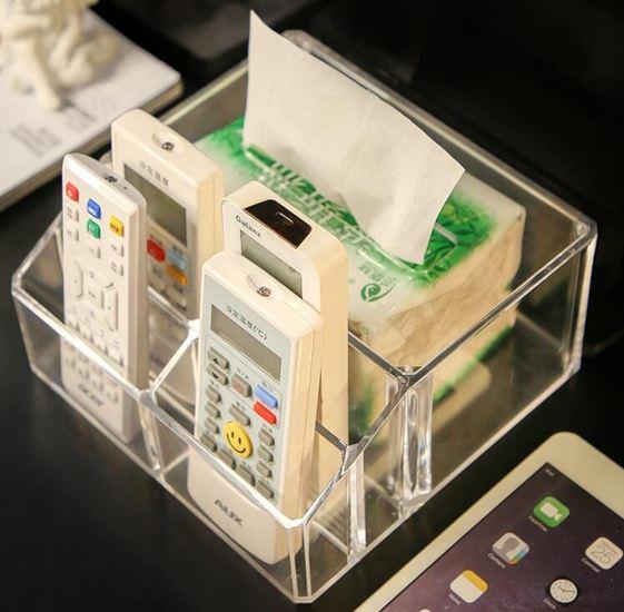 桌面壓克力紙巾盒抽紙盒家用客廳茶幾簡約可愛手機遙控器餐巾收納