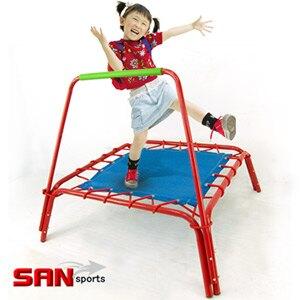 【SAN SPORTS 山司伯特】扶手方形彈跳床(跳跳床彈簧床跳高床.有氧彈跳樂彈跳器.平衡感兒童遊戲床.運動健身器材.推薦哪裡買PTT) C144-A45