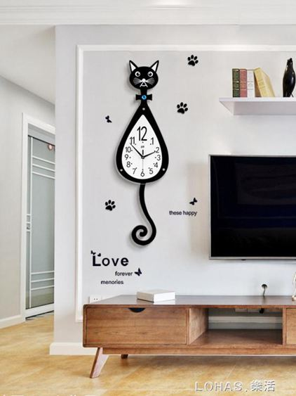 貓咪掛鐘創意客廳現代簡約鐘錶時尚卡通掛錶家用靜音個性時鐘裝飾 林之舍家居
