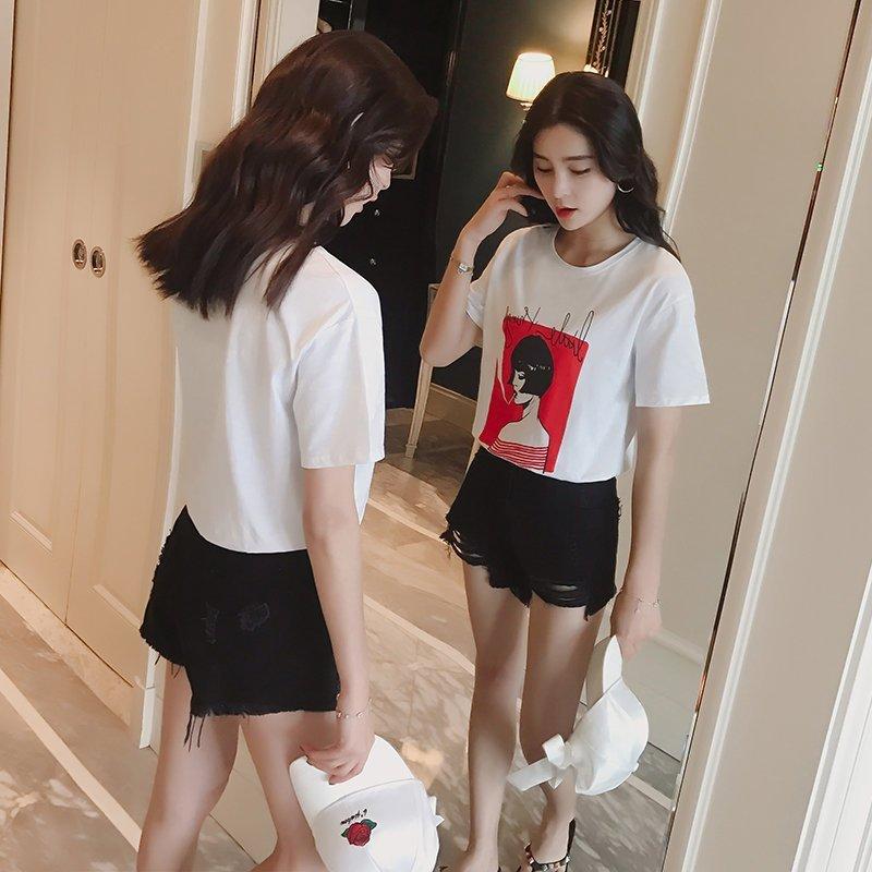 FINDSENSE G5 韓國時尚 純棉 圓領 短袖 上衣 百搭 修身 顯瘦 T恤